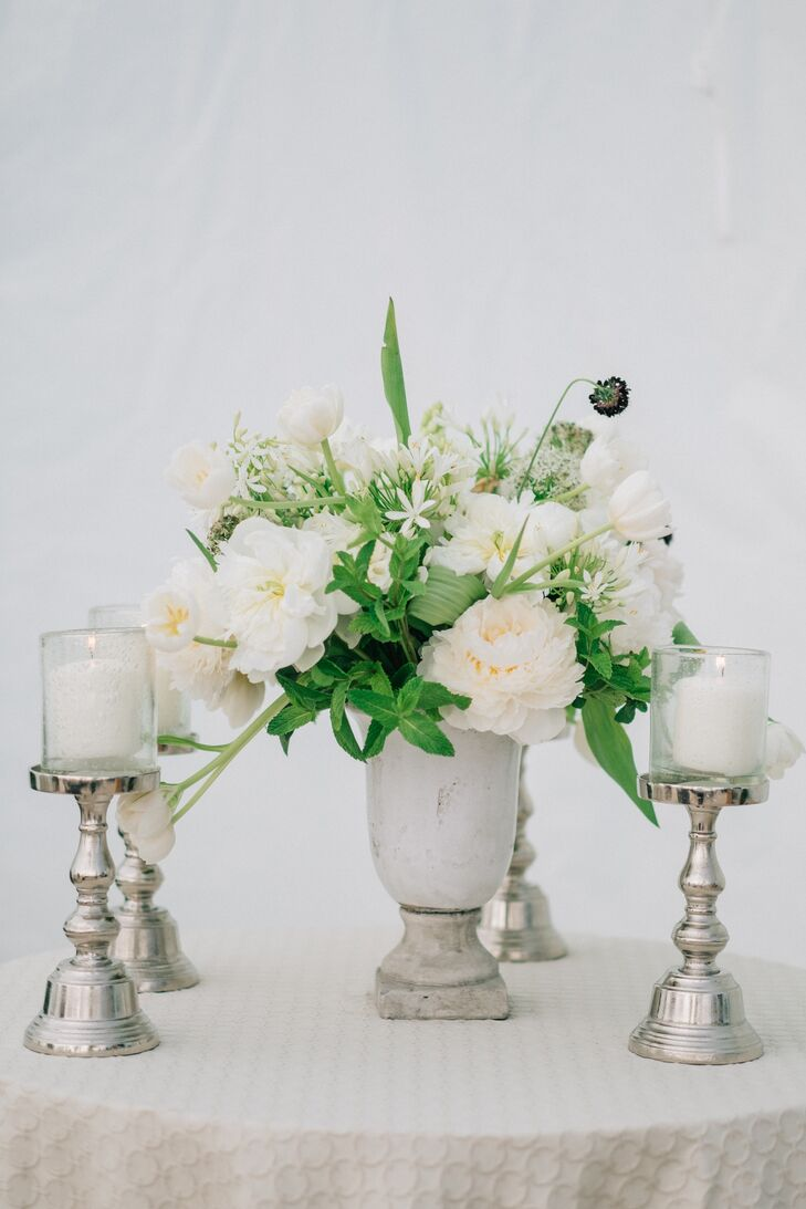 White Peony and Tulip Centerpiece in Cement Vase
