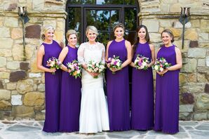 Bridesmaids in Deep Deep Purple Dresses