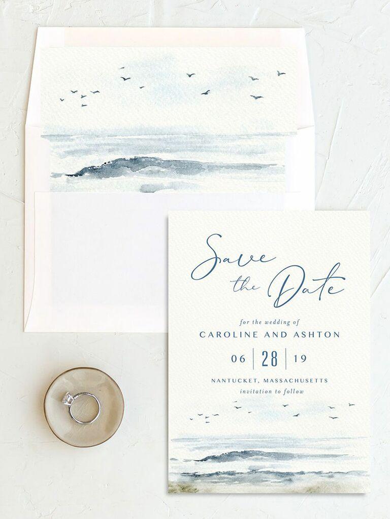 seaside destination wedding save the date