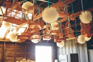 Hanging Vintage Birdcage and Tulle Poufs Ceiling Decor