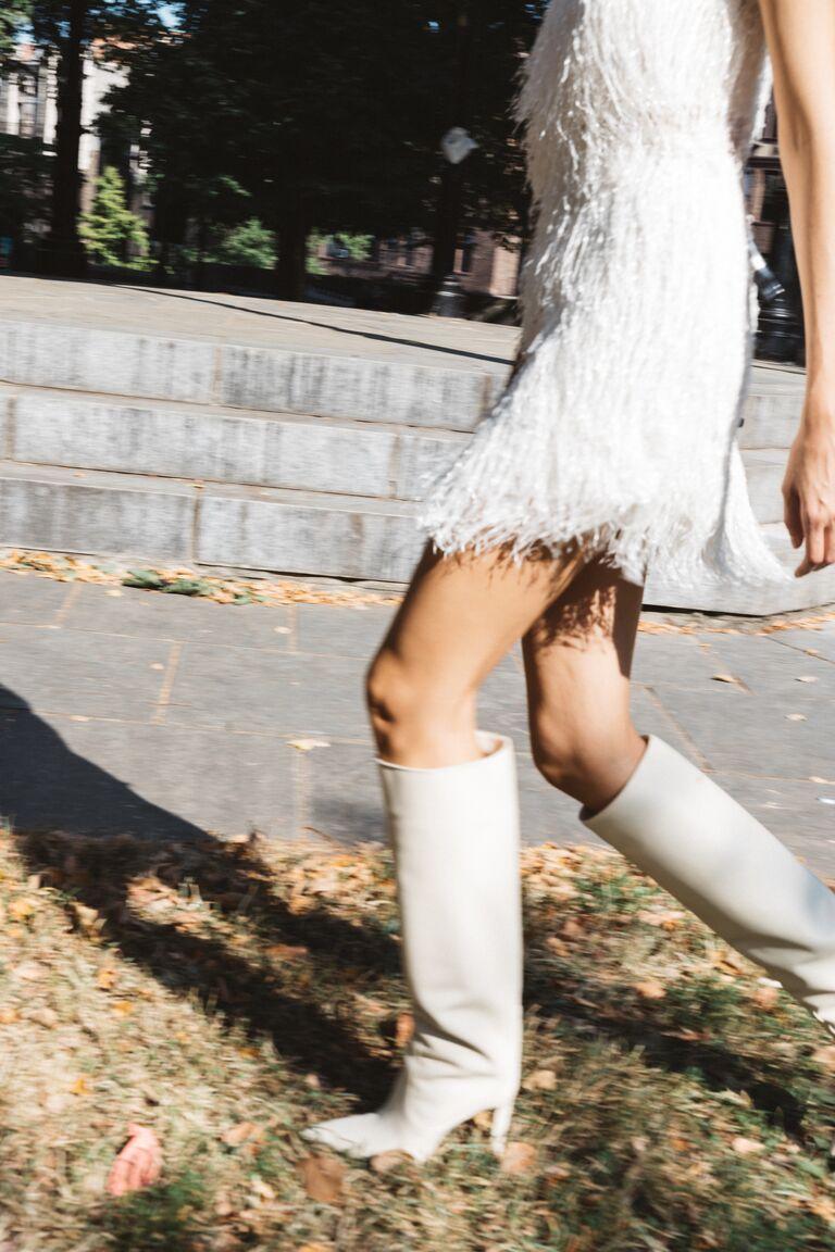 LEIN white fringe mini dress