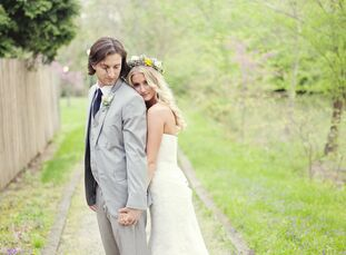 Morgan and Aaron's grey, yellow and ivory color scheme gave a modern edge to the romantic outdoor wedding.