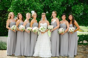 Long Gray Bridesmaids Dresses with Natural Bouquets