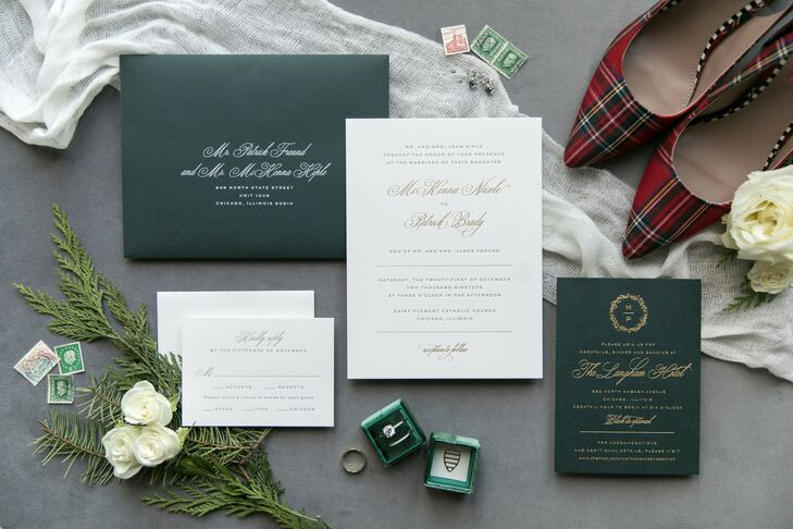 Christmas-Themed Invitations for Wedding at The Langham Hotel in Chicago