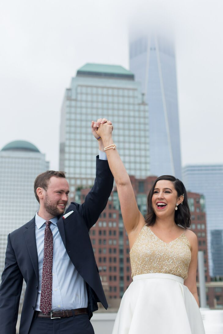 Glamorous Newlyweds on a Rooftop in New York City