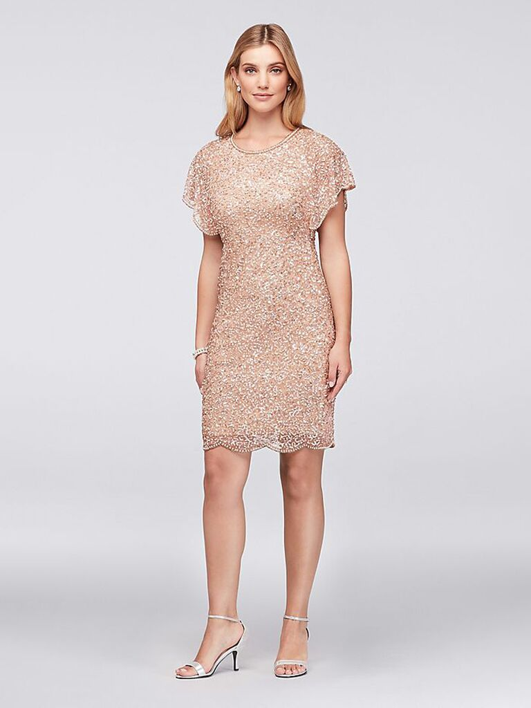Short rose gold sequin bridesmaid dress