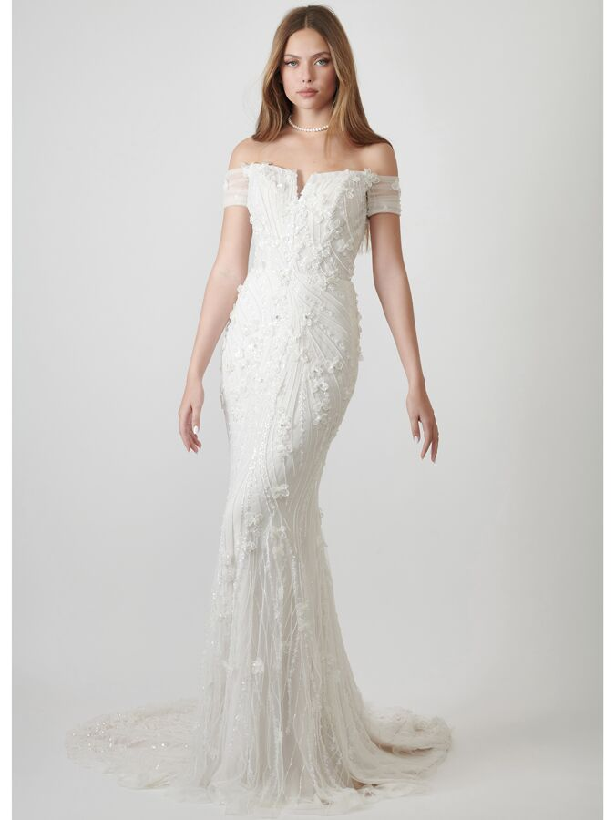 Lihi Hod Couture beaded tulle trumpet wedding dress