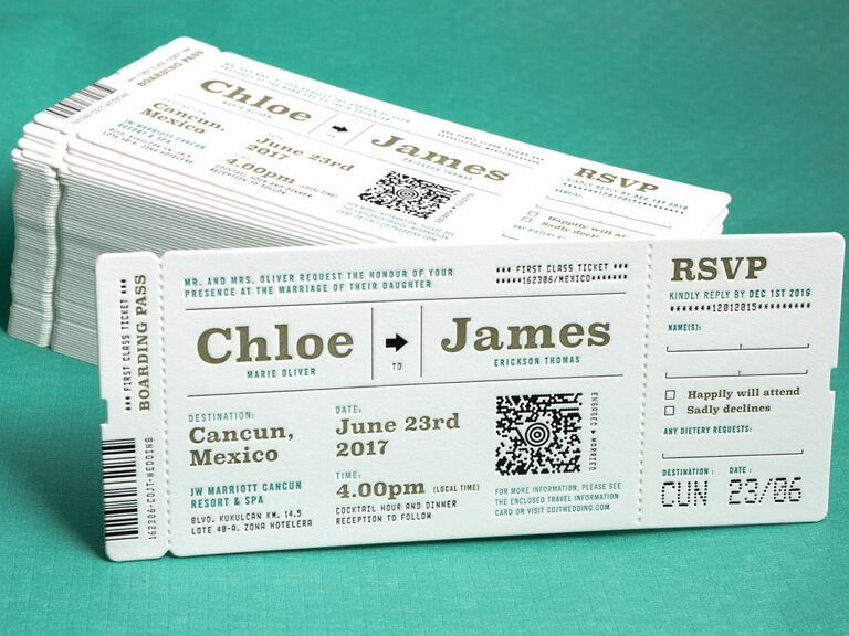 ticket template wedding invitation