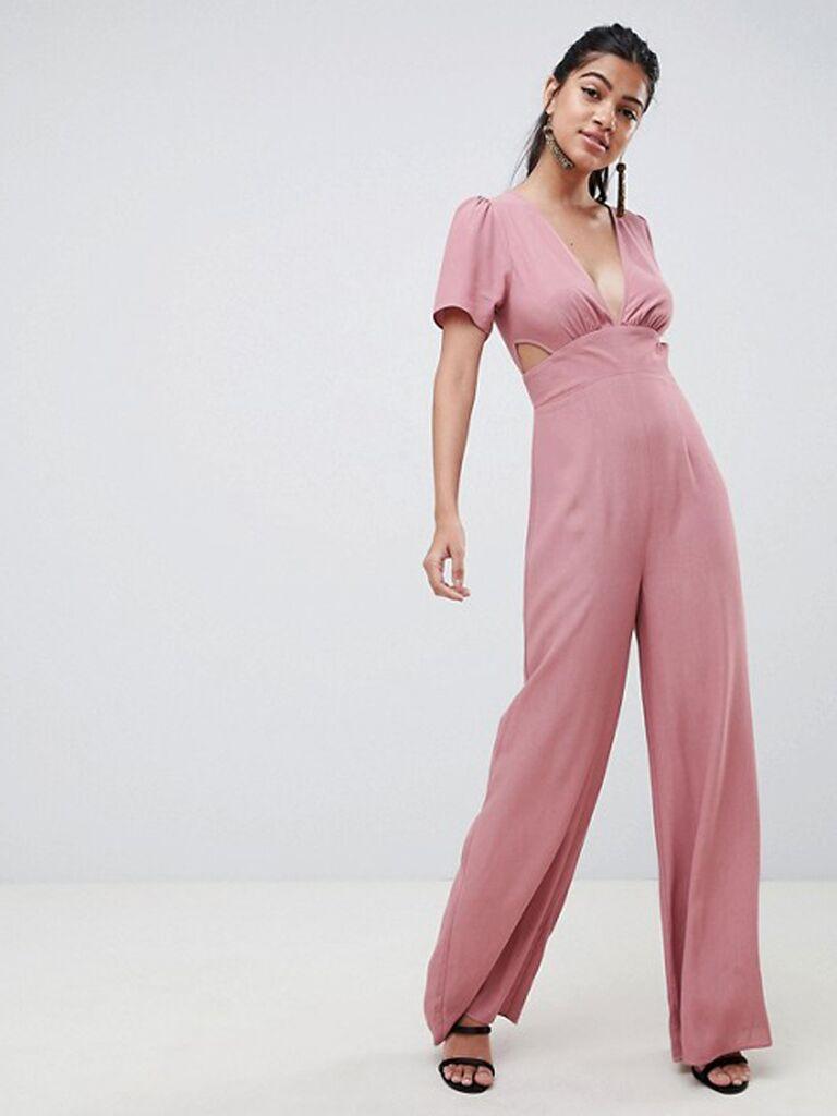 asos pink cutout jumpsuit