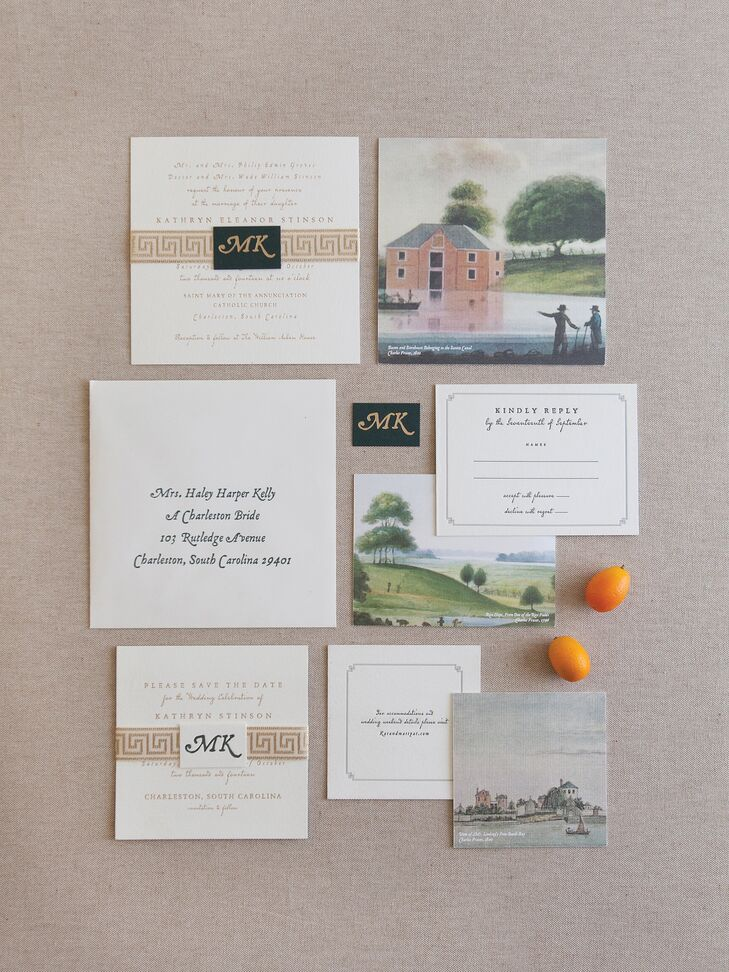 """Inspired by the city's rich scenery, Kathryn incorporated oil paintings from Charleston native Charles Fraser into the invitation suite. She completed the look with greek key trim and gold foil press typography. """"Rachael Blessinger of Studio R in Charleston was absolutely amazing and made my vision come to life,"""" Kathryn says."""