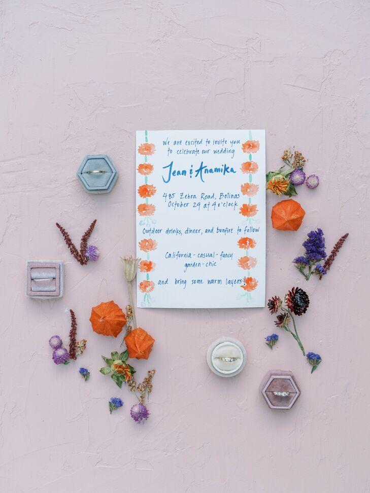 Hand-Painted Wedding Invitation With Orange Marigolds