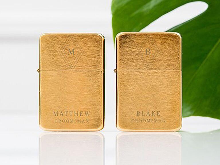 Monogrammed lighter for best man