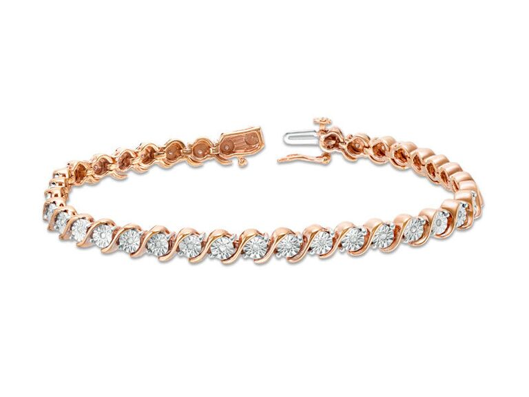 Rose gold and diamond tennis bracelet