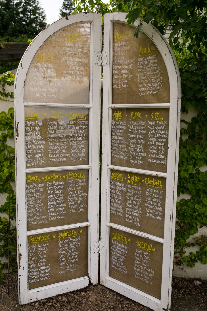 Guests were able to locate their seats at the reception on two standing panels made of wood that flapped outward, which served the purpose of a seating chart. The table numbers were written in large, yellow letters while the names of guests were written in white directly underneath.