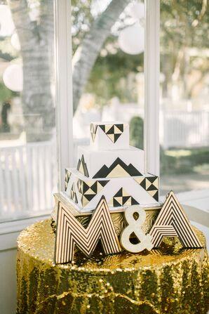 Geometric Black and Gold Wedding Cake