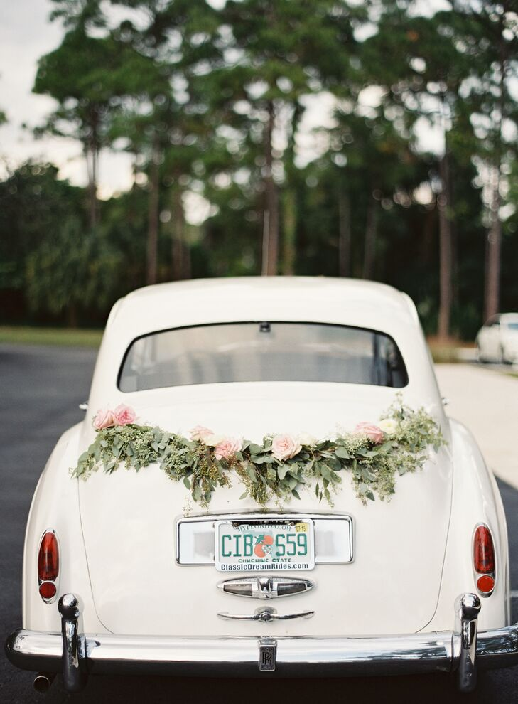 Exit Car with Eucalyptus and Rose Garland
