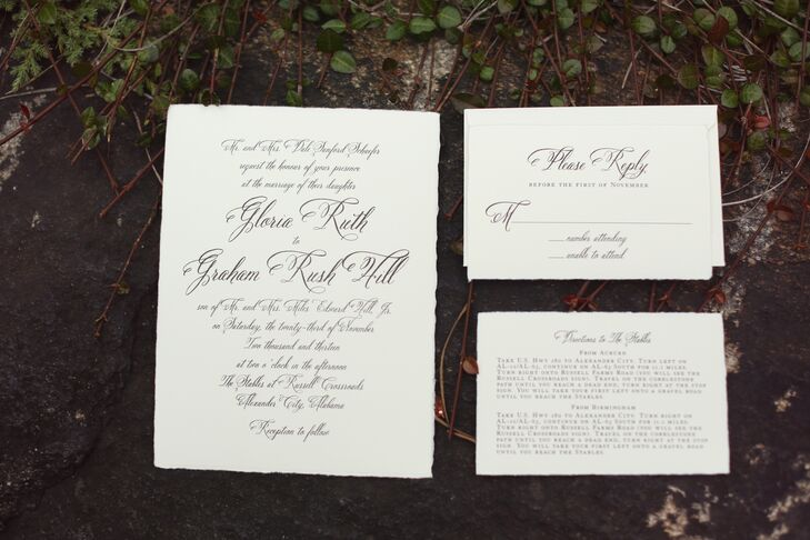 """Our stationary was thick Italian paper, almost like watercolor paper, with black lettering for a  classic and simple,"" says Ruthie."