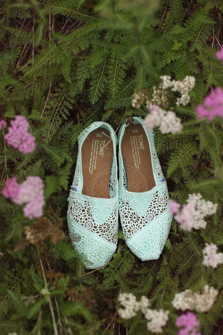 Mint TOMS Wedding Shoes