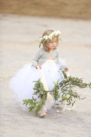 Tulle Flower Girl Skirt and Fresh Flower Crown