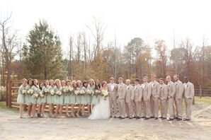 Rustic Mint and Tan Wedding Party Attire