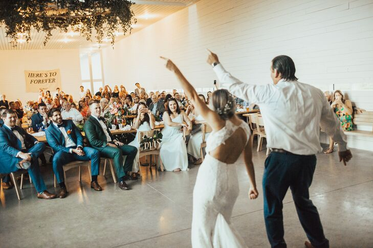 """We ran out and danced to 'Give it to Me Baby' by Rick James,"" Jordyn says. ""Totally spontaneous—not coordinated. It was so much fun, and our DJ, Floyd with Hill Country DJ's, said it was the most lively entrance he had ever seen!"""