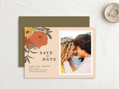 Save the date with couple photo, retro flowers and neutral tones