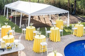 Yellow Cocktail Table Linens at Backyard Minimony in New York