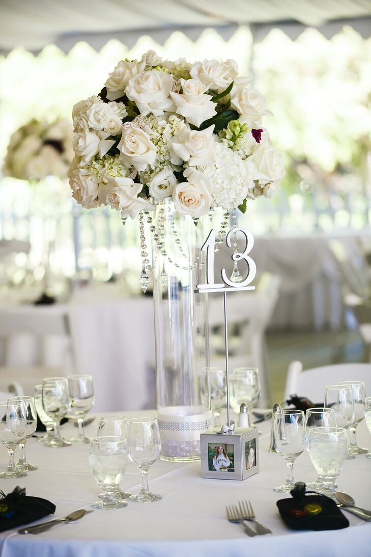 formal white, silver and burgundy reception decor
