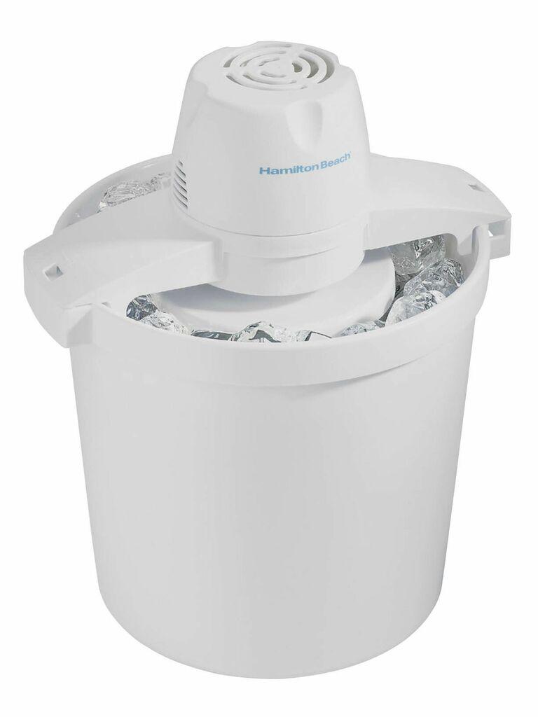 white electric ice cream maker