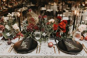 Modern Black Place Settings and Moody Burgundy Centerpieces
