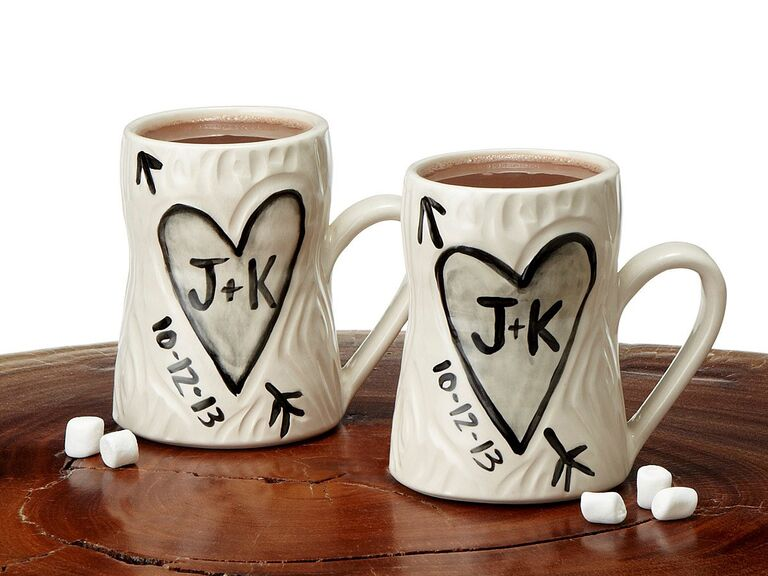Faux bois design mug set with couple's initials and wedding date