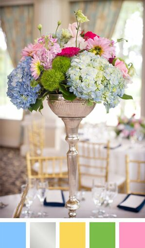 Light Blue, Pink and Silver Color Palette