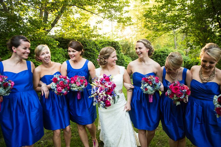 5f088b859f9a The bridesmaid dresses and shoes set the tone for their vibrant color  palette—bright cobalt