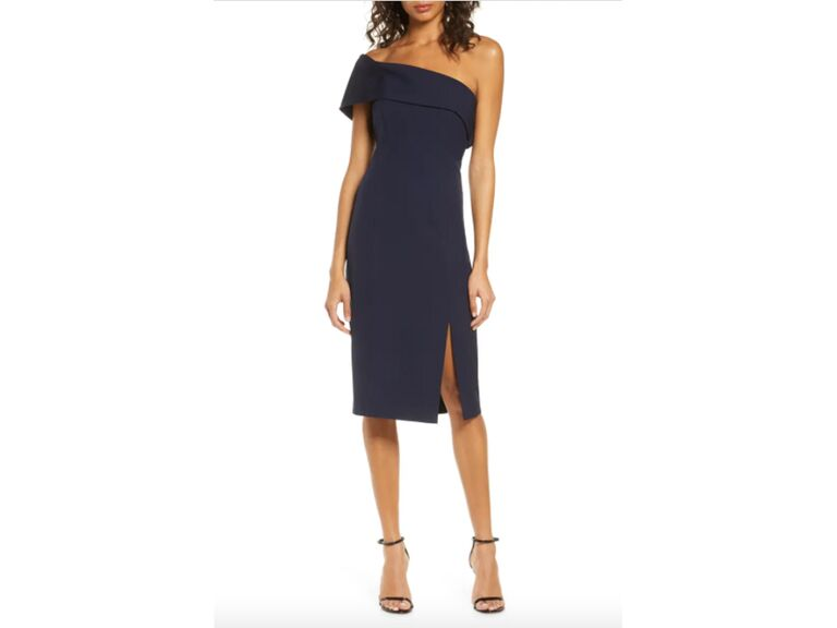Navy midi evening dress with one-shoulder