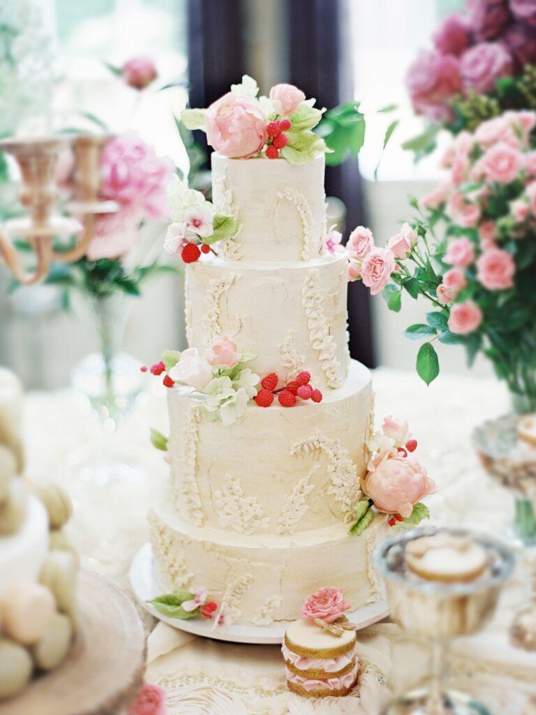 White woodland wedding cake
