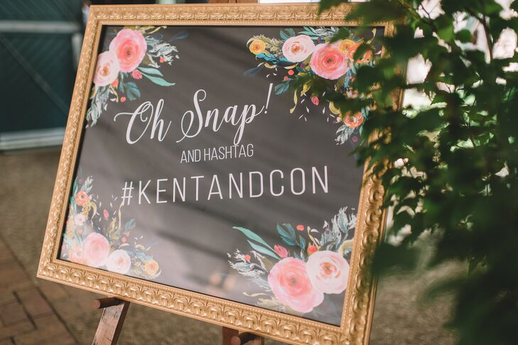 Connie and Kent had a decorated chalkboard sign encouraging guests to tag them on social media with a custom hashtag.