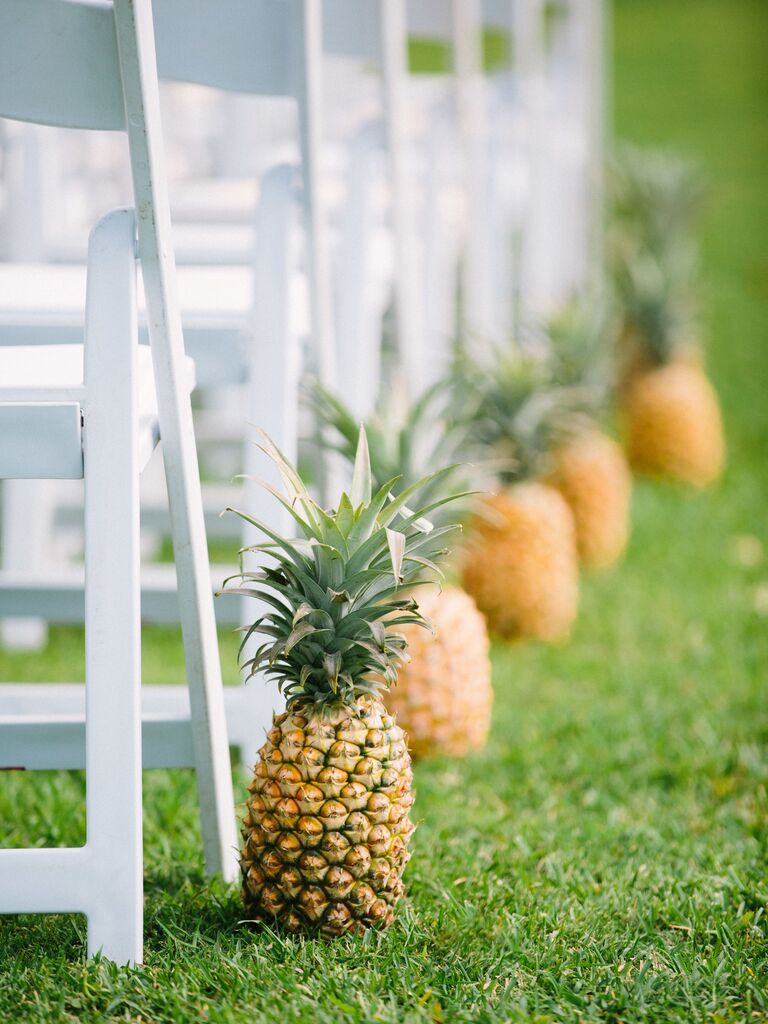 Locally Grown Pineapples ceremony aisle decor
