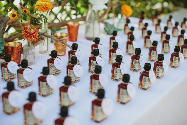 """We love Knob Creek bourbon and wanted to kick off the cocktail hour with individual mini bottles,"" Gwynne says."