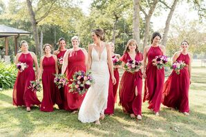 Rustic Bridesmaids with Long Red Dresses and Colorful Bouquets