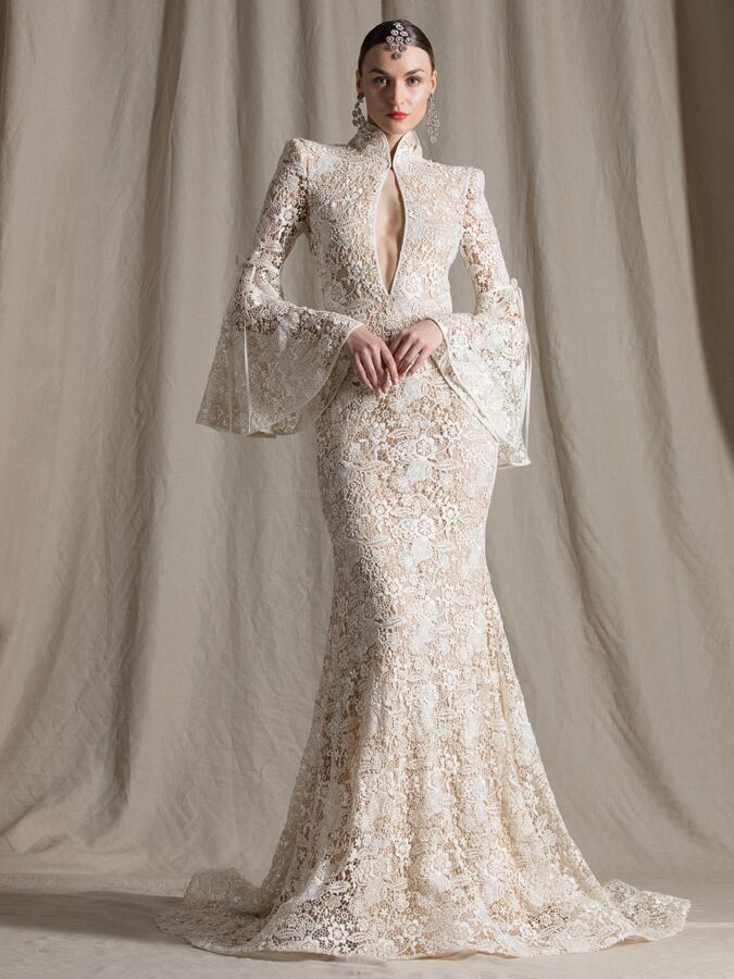 Naeem Khan lace fit-and-flare wedding dress with trumpet sleeves