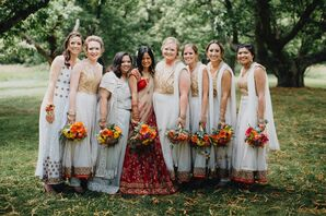 Wedding Party in Colorful Indian Saris