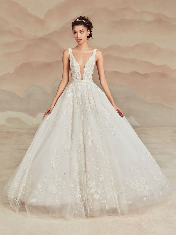 Ines Di Santo sleeveless ball gown with plunging V-neck