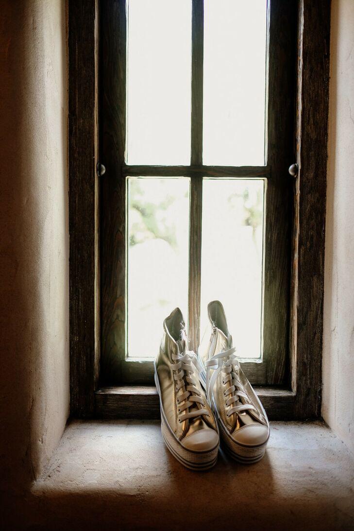 Shiny High-Top Converse for Modern Bride