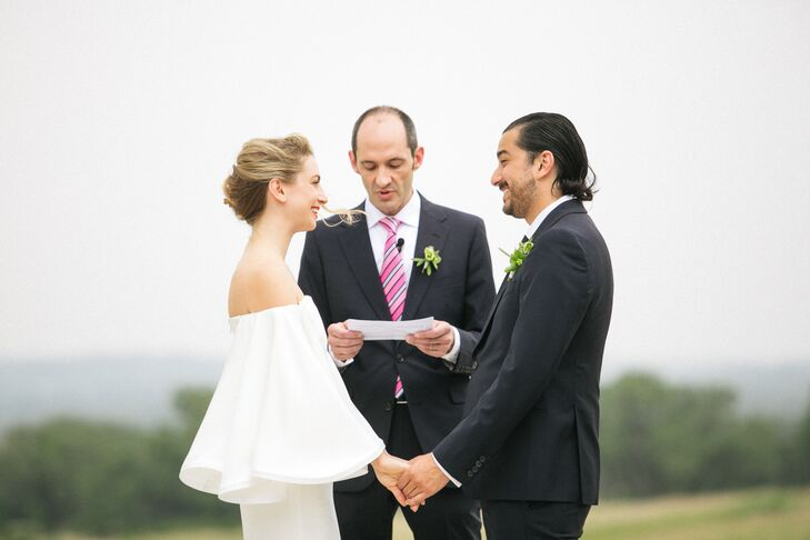 Modern Bride and Groom During Prospect House Outdoor Ceremony