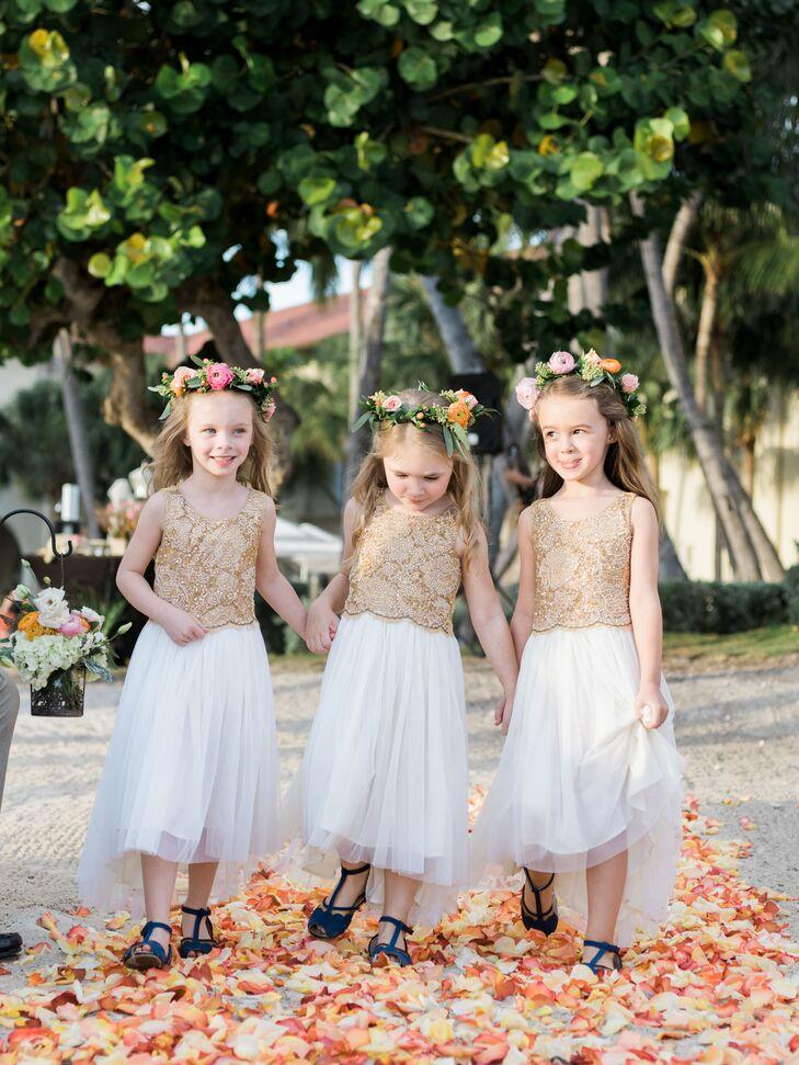 Embroidered Gold Flower Girl Dresses