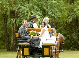 After the ceremony, the couple enjoyed a romantic carriage ride while the guests moved to the reception site.