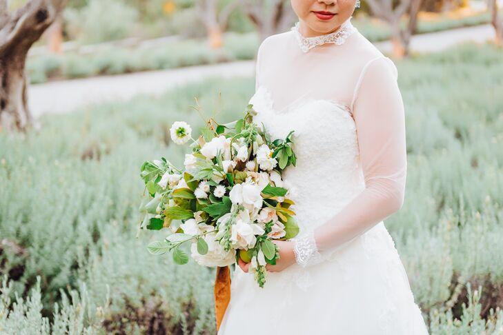 Romantic Wedding Dress and White Bouquet