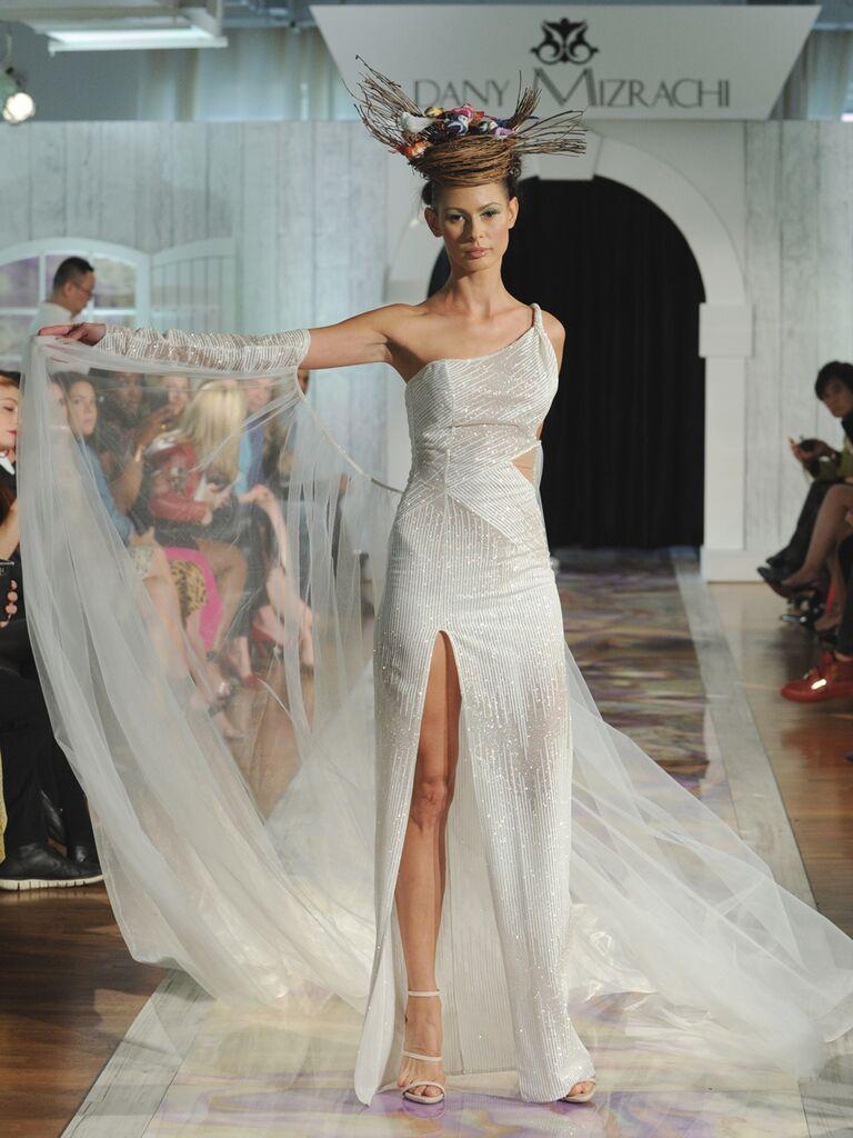 Dany Mizrachi Fall 2019 one-shoulder cutout wedding dress