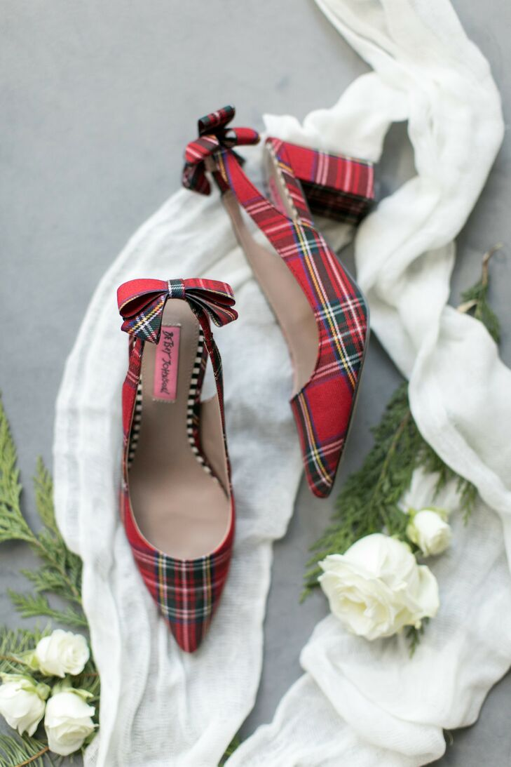 Red Plaid Heels for Wedding at The Langham Hotel in Chicago