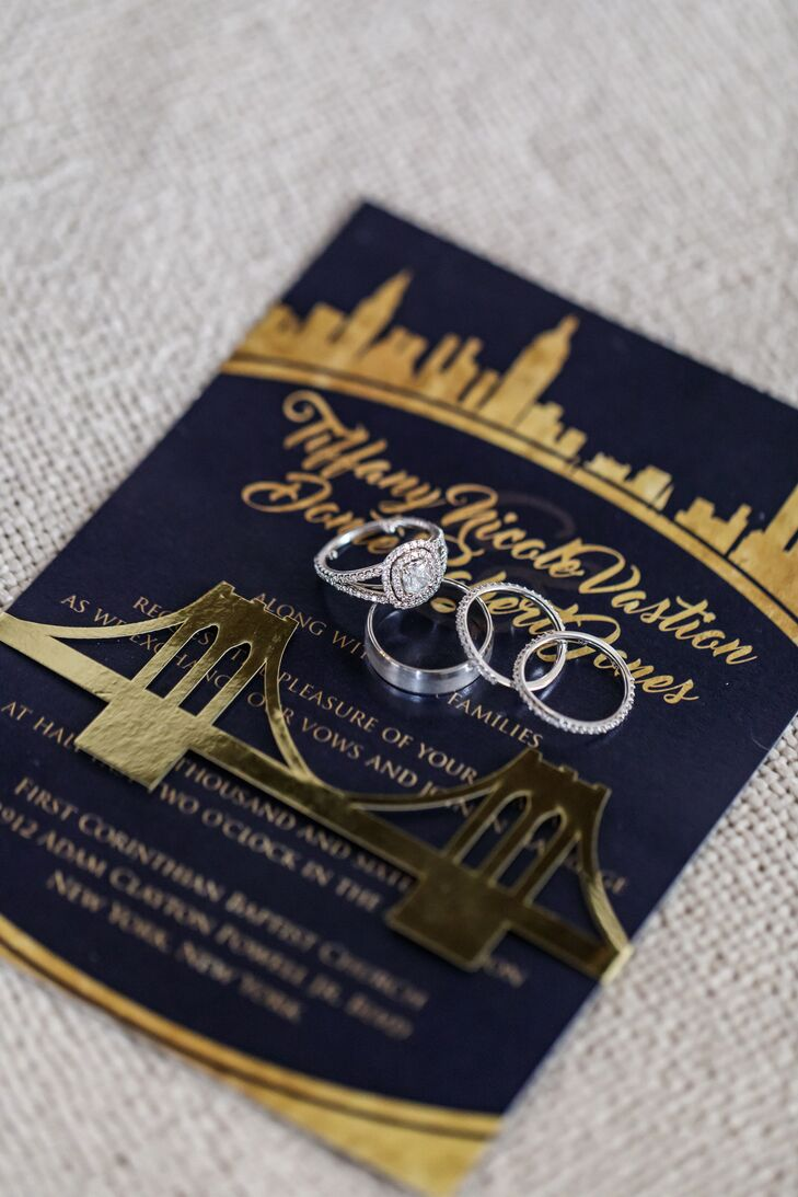 Custom Gold Foil Invitation with Brooklyn Bride and City Skyline Illustration